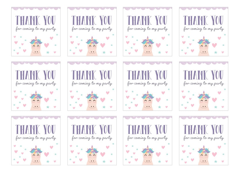 Unicorn themed tags thanking for coming