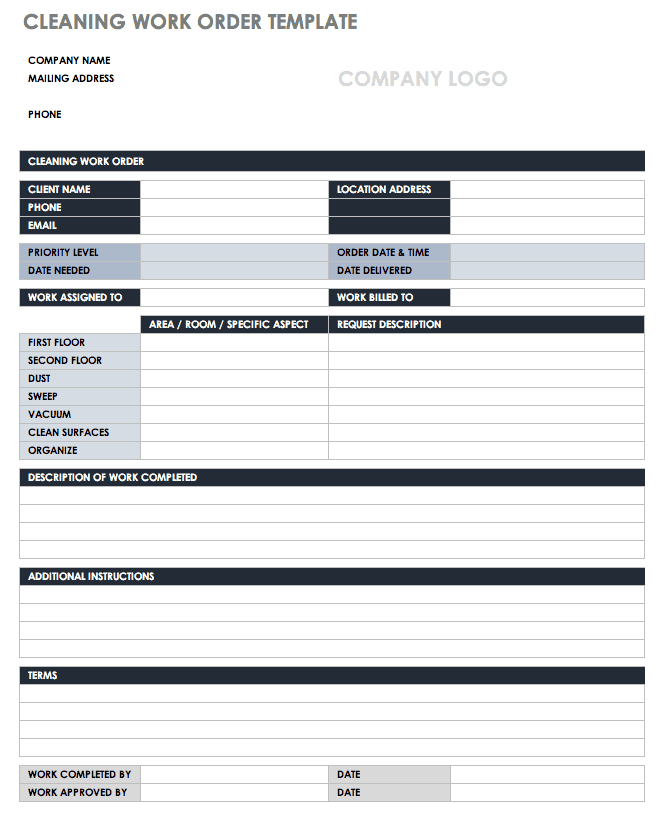 Cleaning Work Order Template