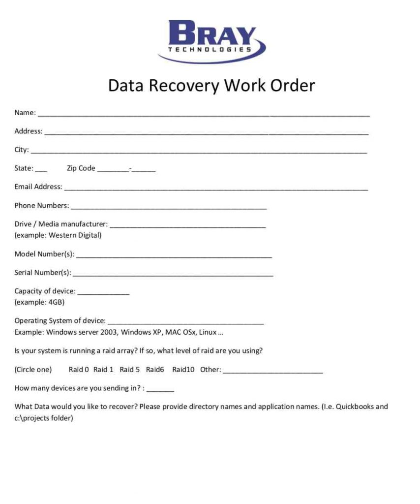 Data Recovery Work Order Template