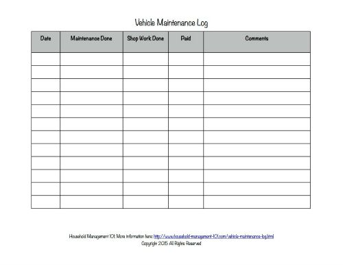 free Vehicle Maintenance Log