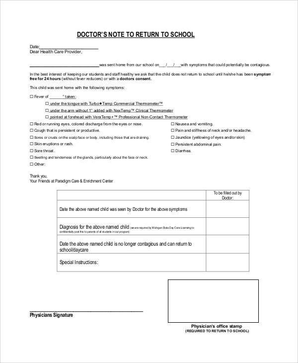 Doctors Note Template for school
