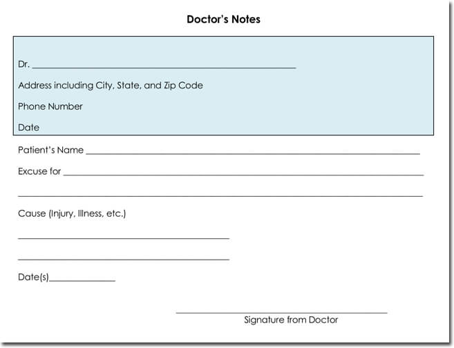Blank doctors note templates