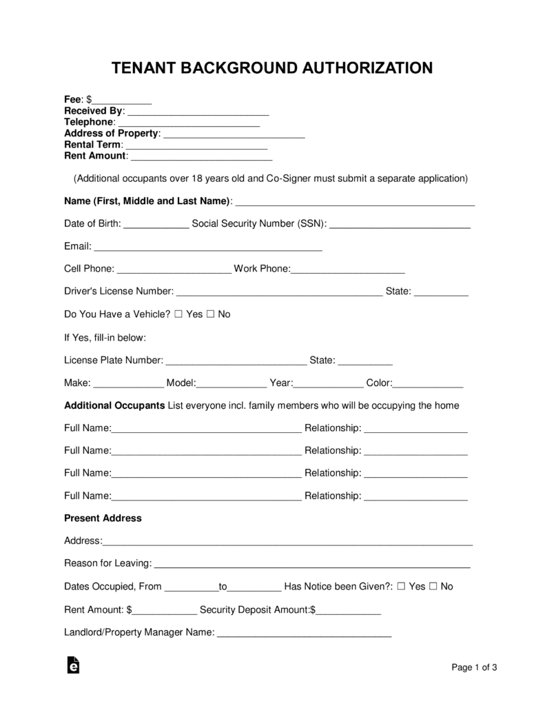 Background Authorization Form