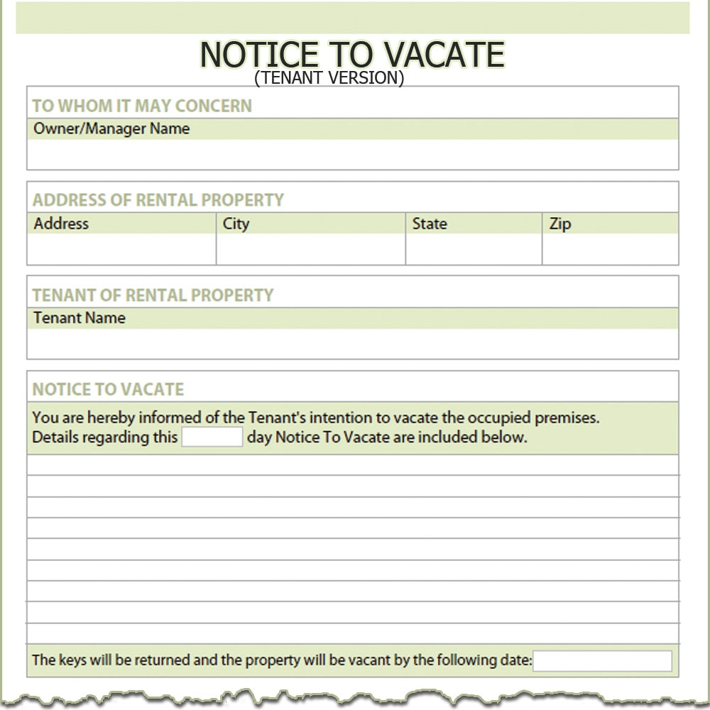 30 day notice to vacate to the tenant