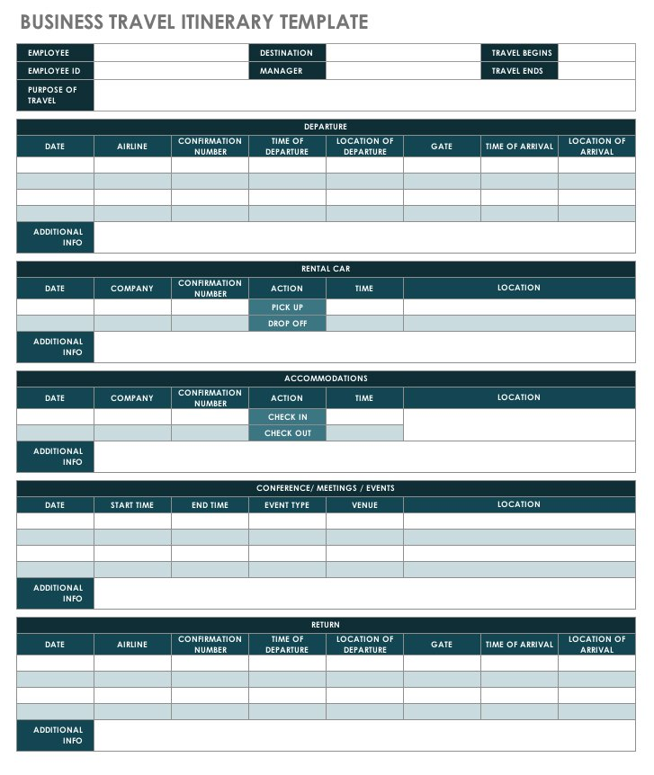 business planning travel itinerary template