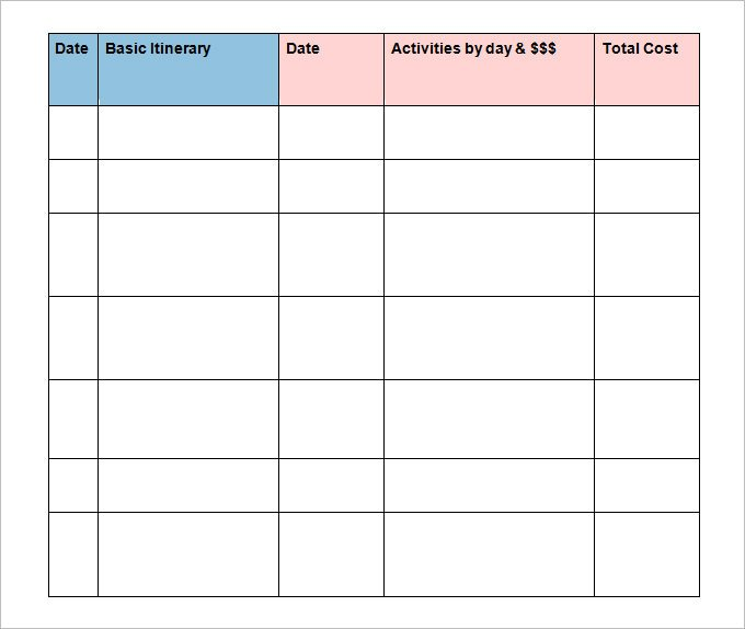 vacation itinerary template excel log
