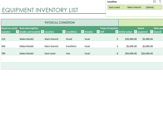inventory list business