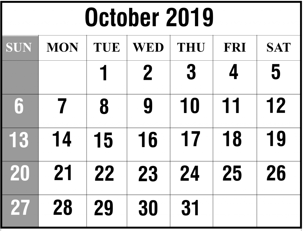 oct 2019 Calendar background