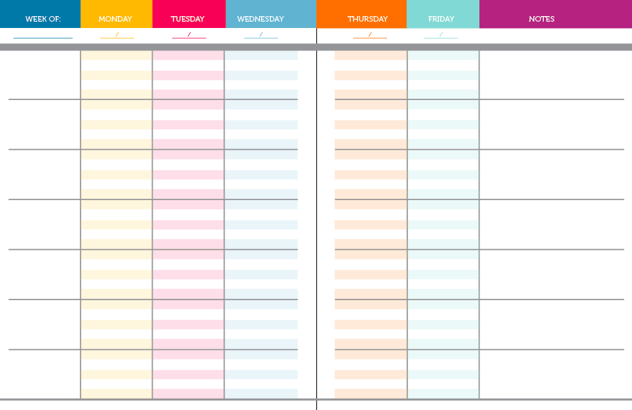 weekly schedule template - blank monthly events planner
