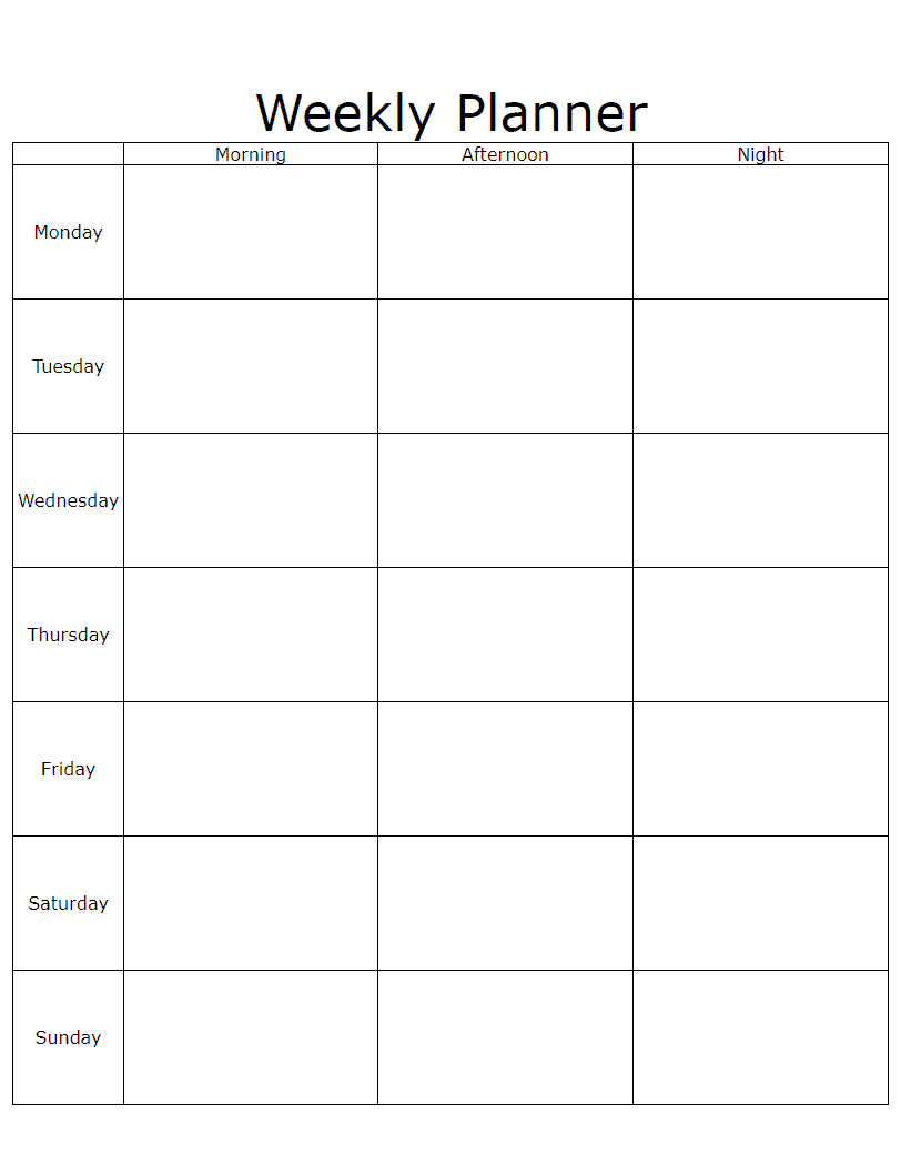 Weekly Schedule Planner Free