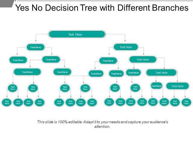 create a decision tree with possible outcomes options