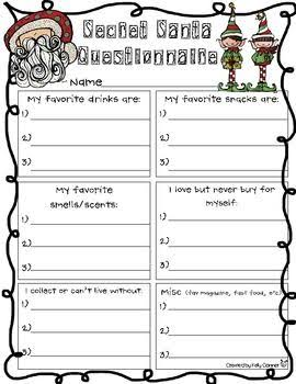 33 Printable Secret Santa Questionnaire Free Download