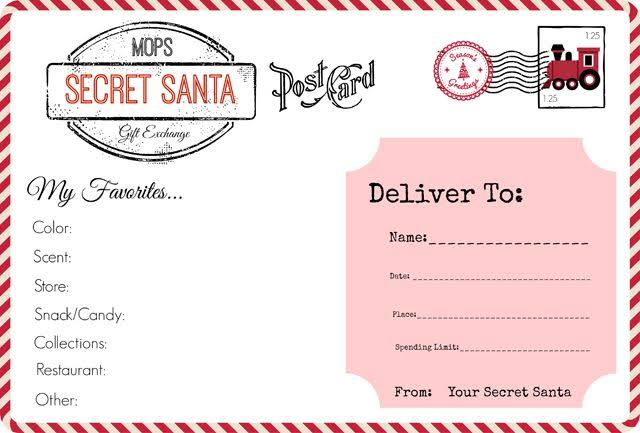 Secret Santa Form printable