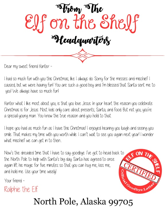 Free Elf on the Shelf Printable letters