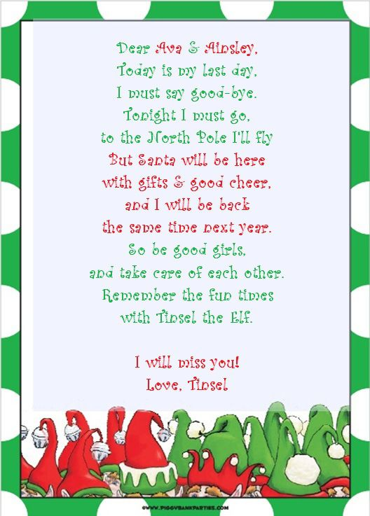 Elf On The Shelf Letter Template