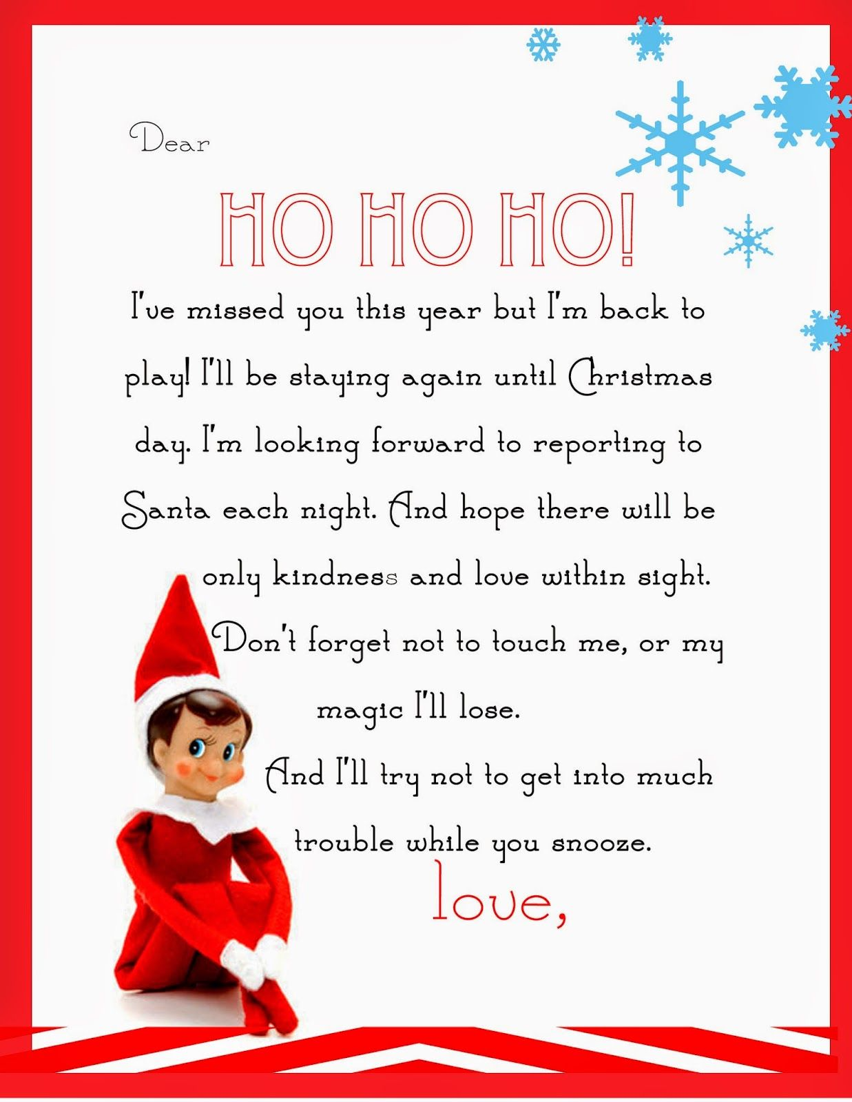 Cute Christmas Letter Downloadable Template