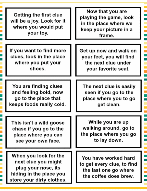 Printable clue cards template