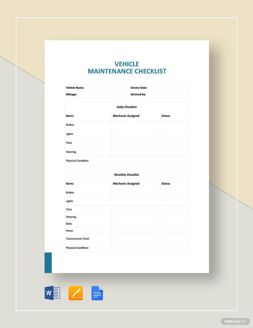 Vehicle Maintenance Checklist Template