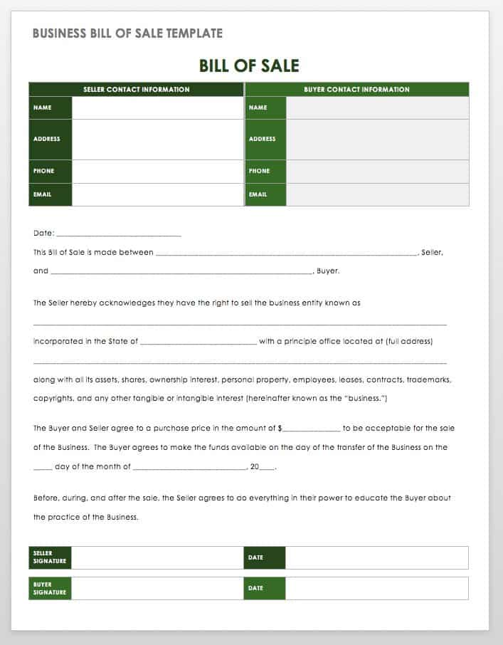 seller legal form for selling items