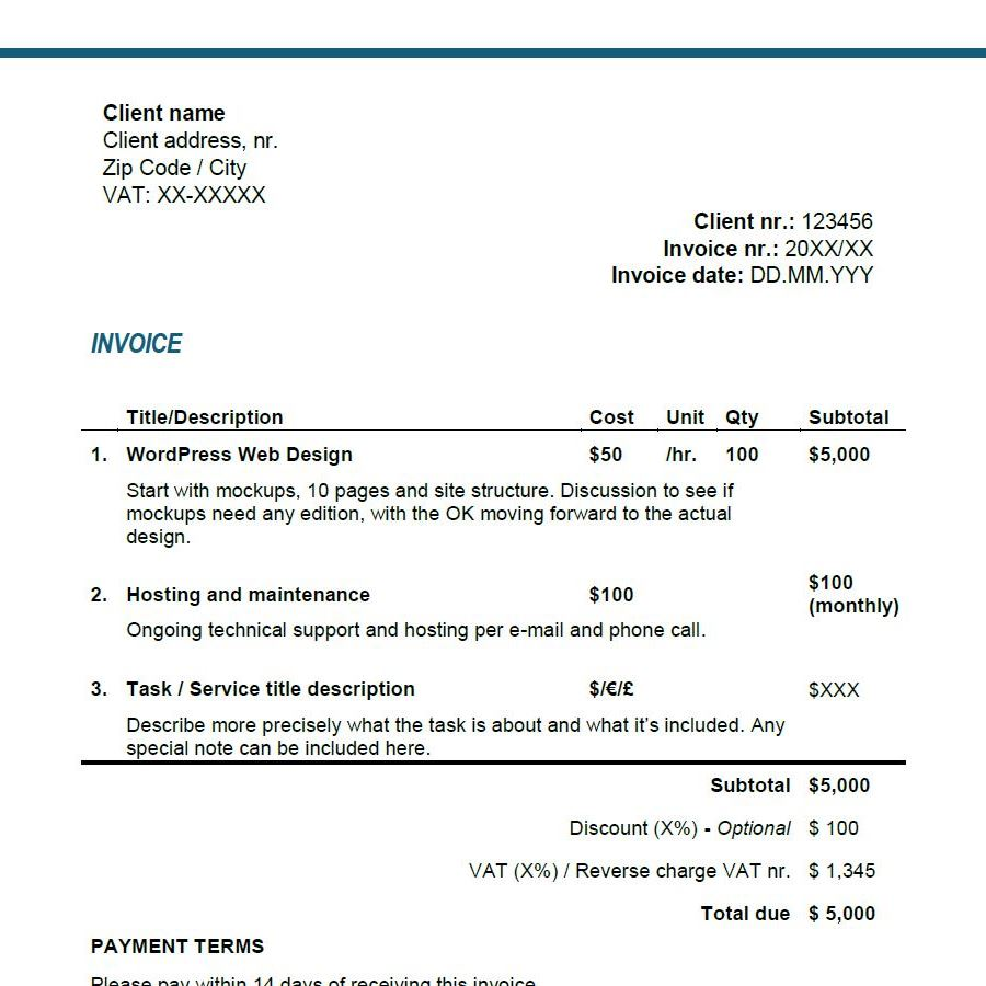 Contractor Invoice Template client invoices for professional services