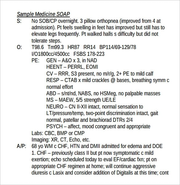 soap note format
