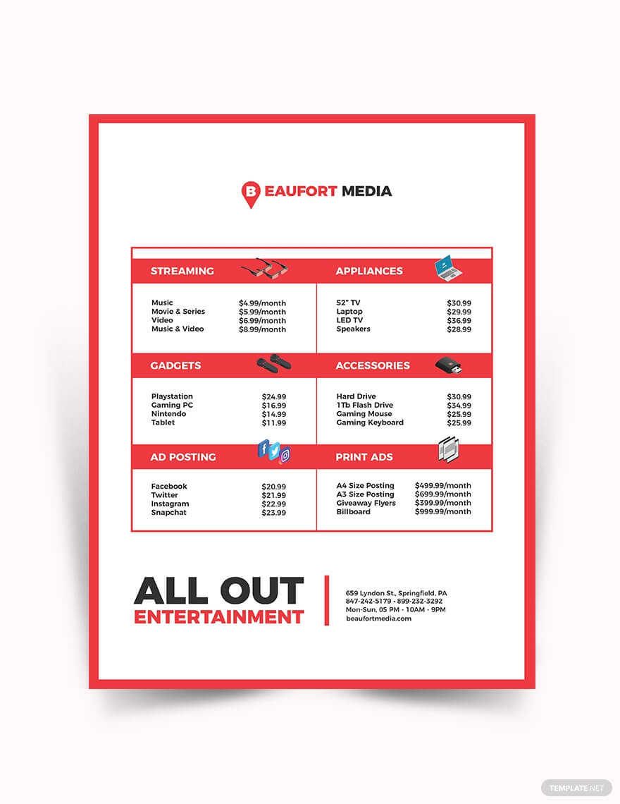 Media Price List Template