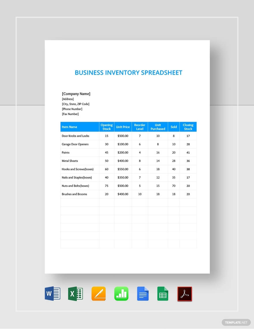 Business Inventory Template from www.realiaproject.org