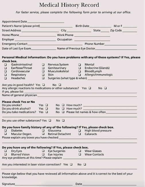 personal medical history form free