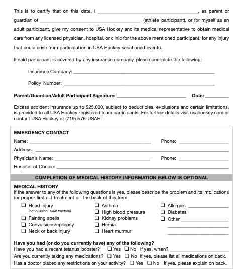 short medical history form account template use
