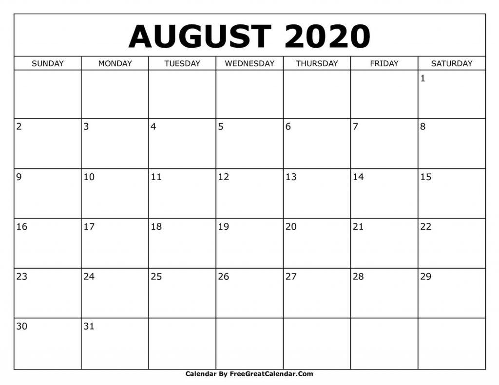 Printable Aug 2020 Calendar