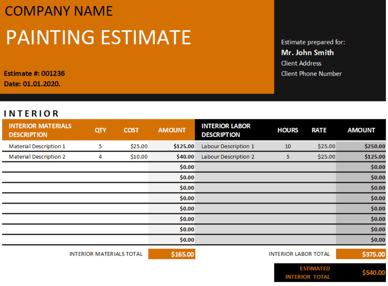 painting estimate template