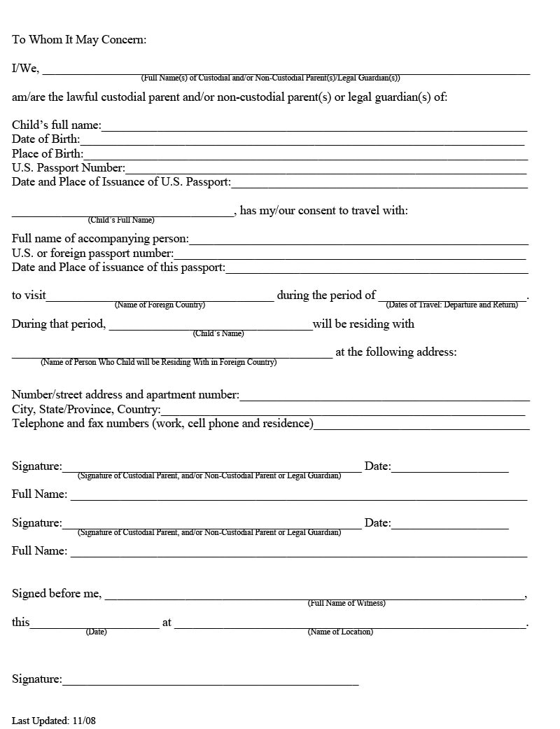 Consent Letter for traveling minor