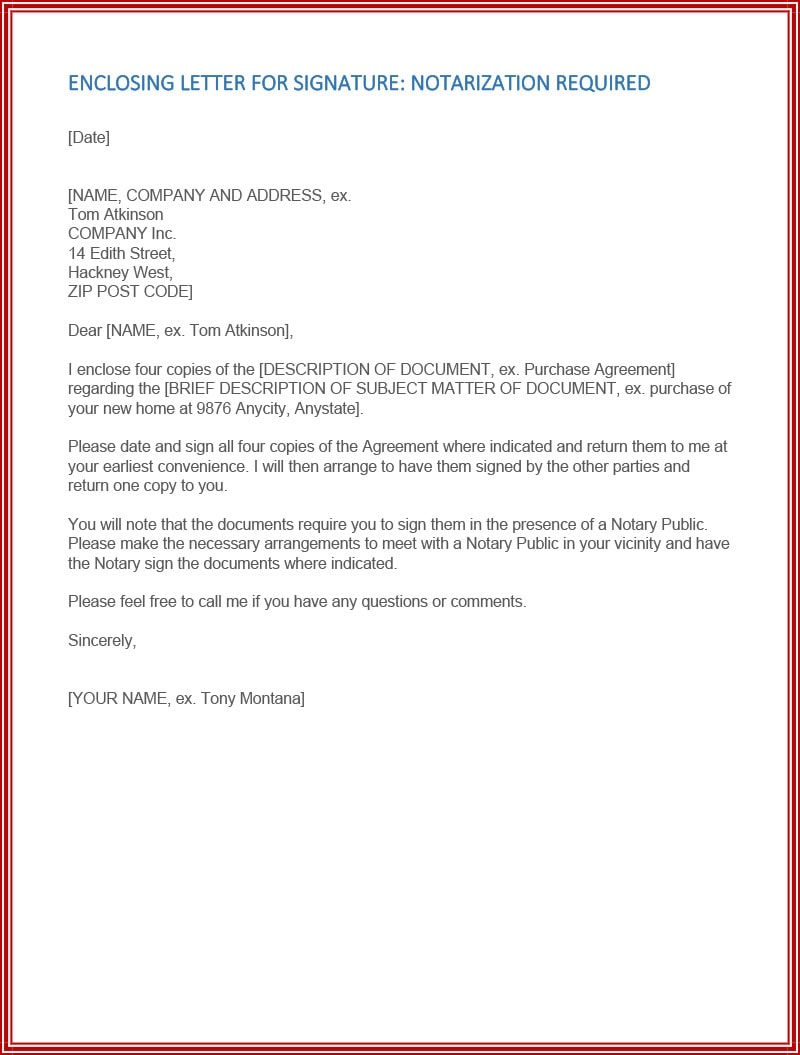 Letter for purchase of new home