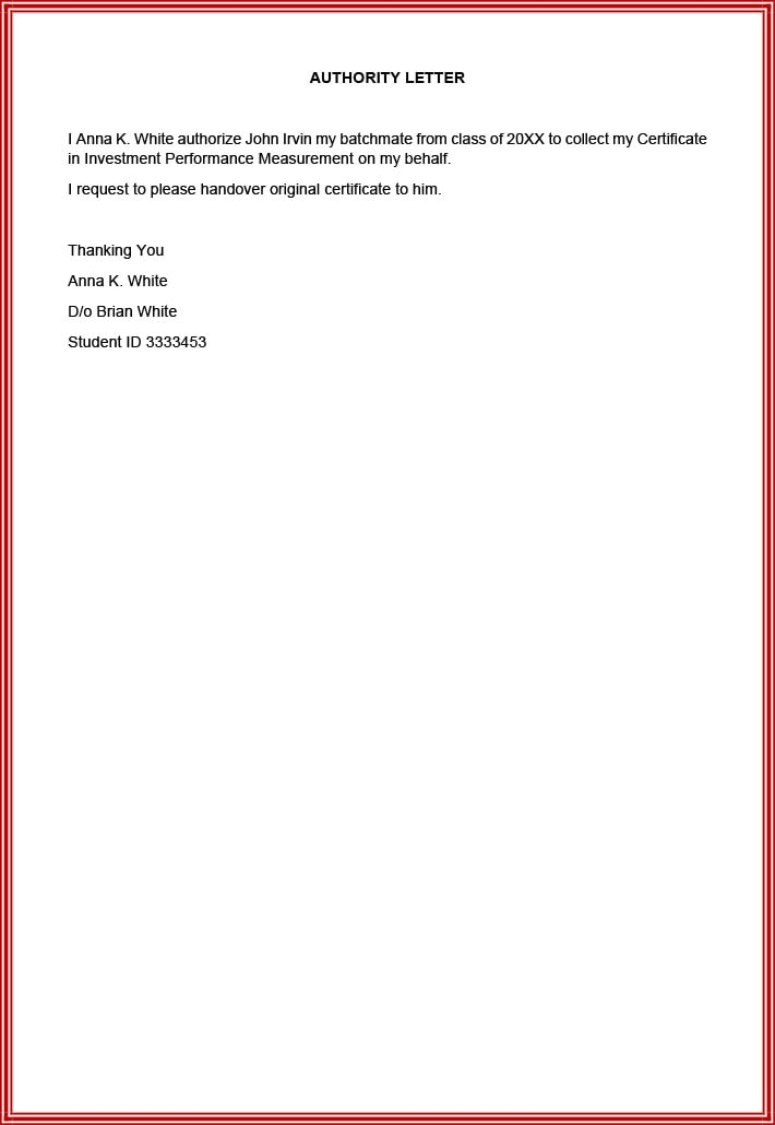Degree collection letter of authorization