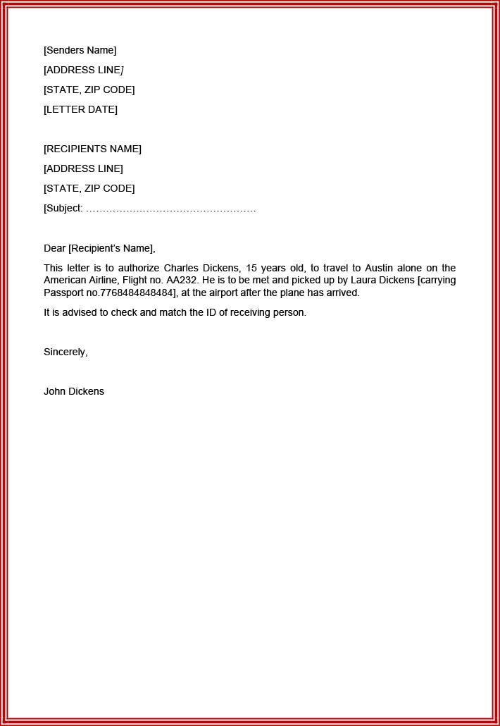 Authorization letter sample for minor to travel alone