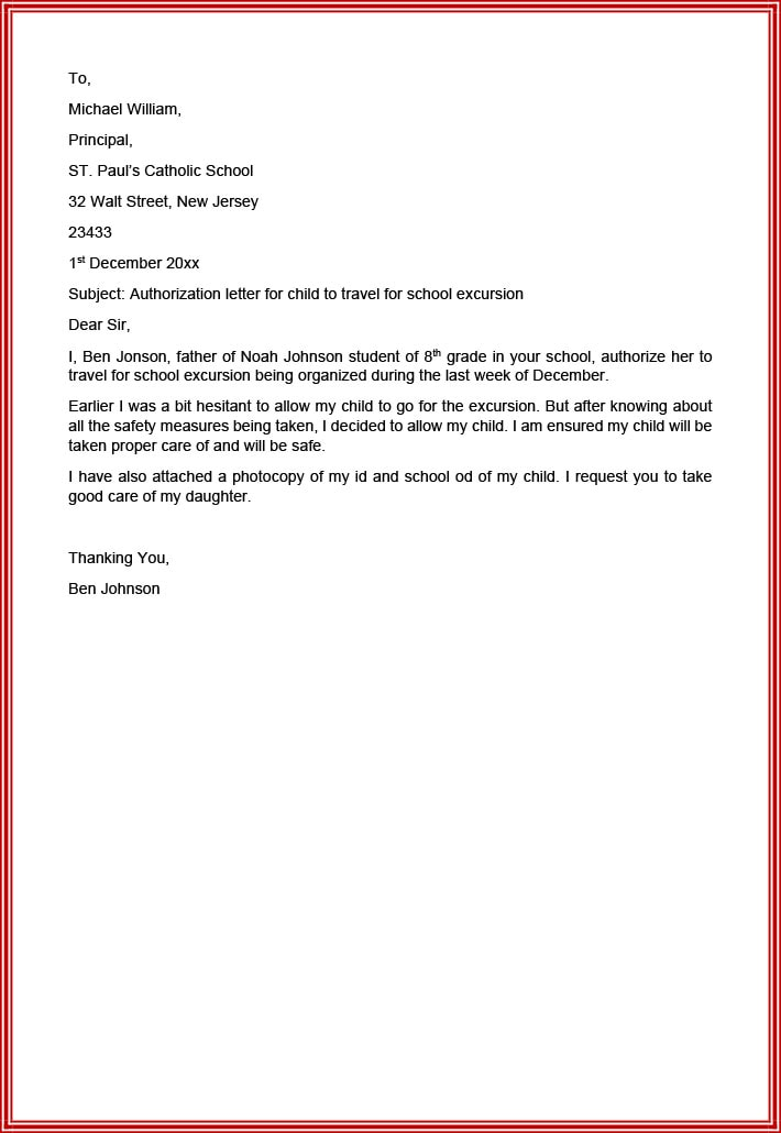 Authorization letter for child to travel for school excursion