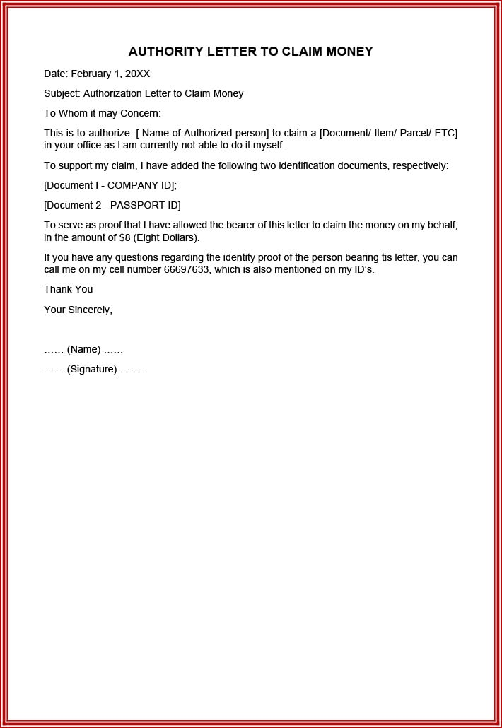 Authority letter to claim money