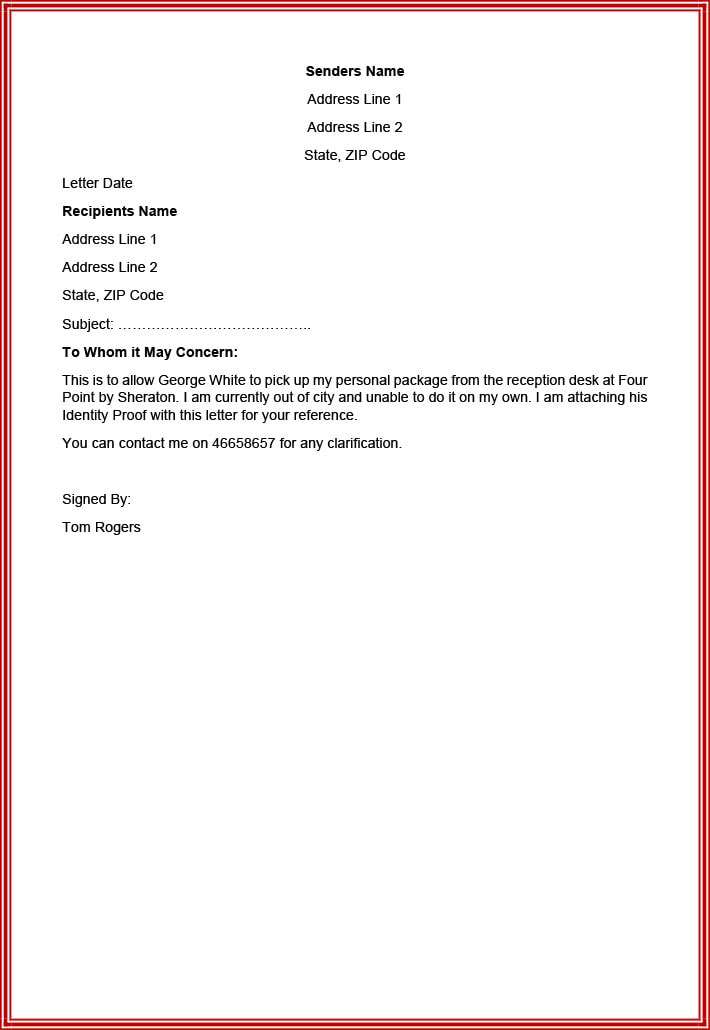 Authorization letter to pick up documents