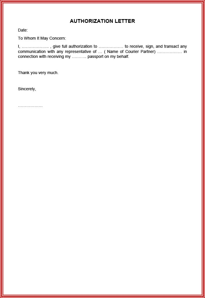 Letter of authorization to pick up passport