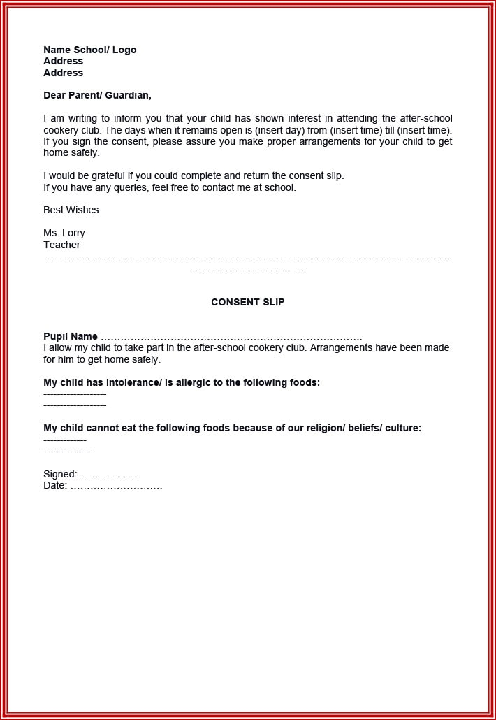 Parental consent example letter
