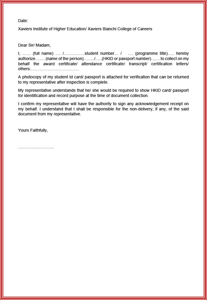 Authorization letter sample to collect academic documents from college