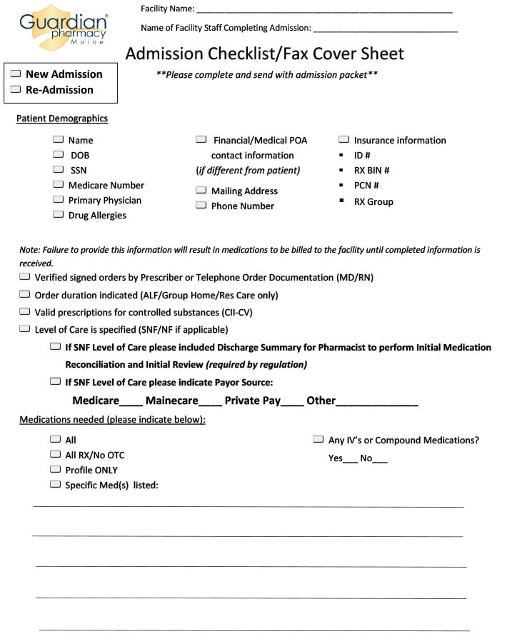 Admission checklist fax cover sheet from Guardian Pharmacy Maine