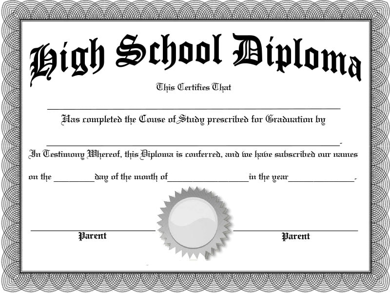 Blank fillable diploma template