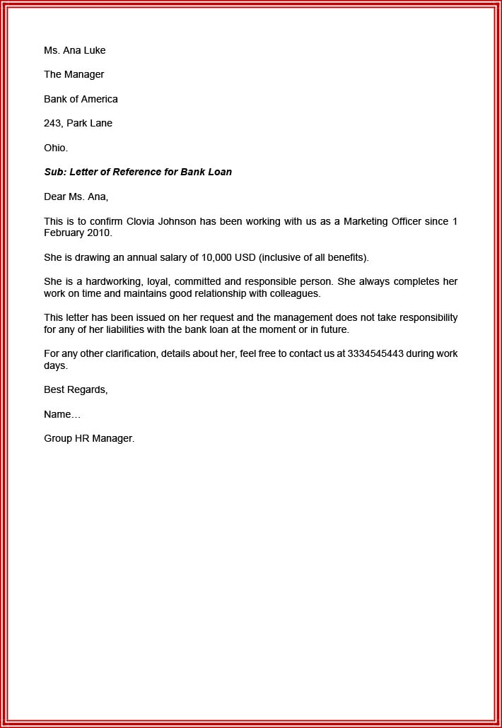 Character reference letter for bank loan