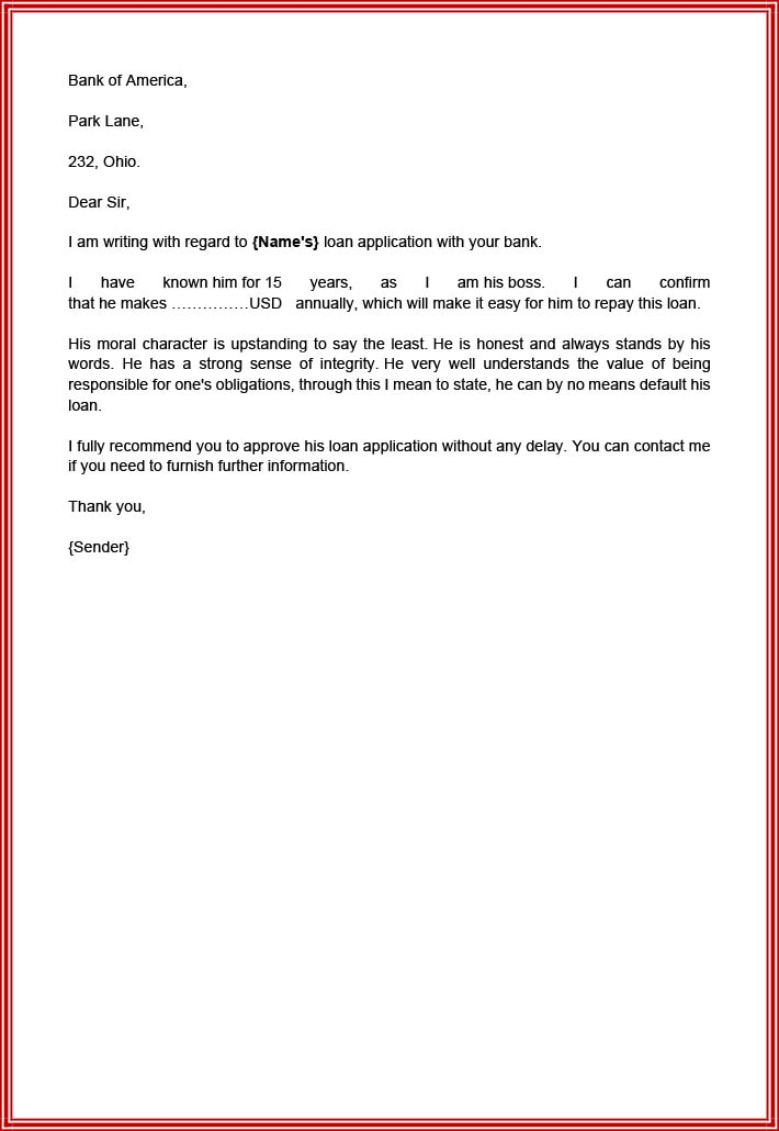 Recommendation letter for bank