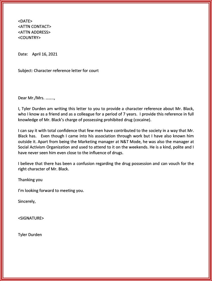 Moral character letter for court