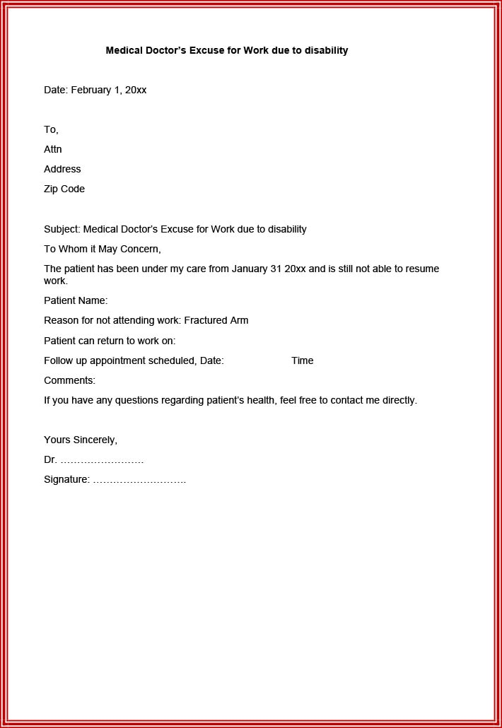 Blank doctor's excuse template to unable to join work due to fractured arm