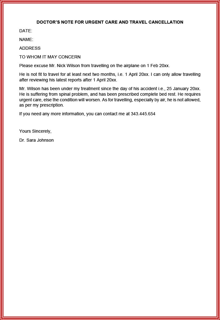 Excuse note for last minute travel cancellation