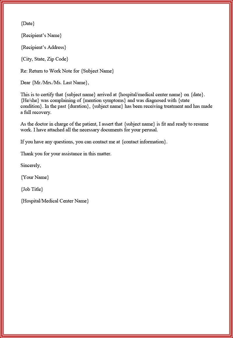Fillable doctor's note