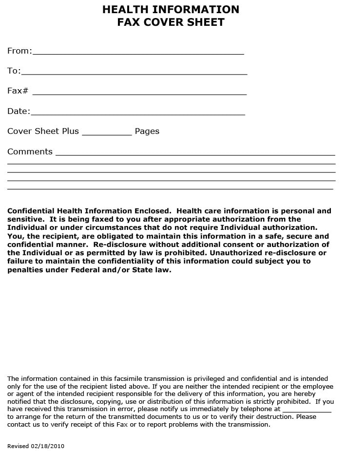 Fax cover sheet for health information